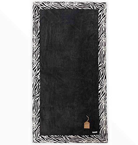 Telo Mare Okoa Bordo Stampato Animalier Misura 90x170cm 100% Spugna di Cotone Telo Spiaggia Tinta Unita Beach Towel (Grigio-Zebrato)