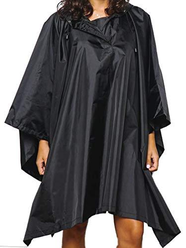 Vibe Wiederverwendbarer Regenponcho / Regenjacke für Damen, Schwarz, Einheitsgröße