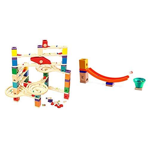Hape E6009 - Quadrilla Vertigo, Kugelbahn, Konstruktionsspielzeug, aus Holz, ab 4 Jahren & E6023 - Mega Skatepark, Zubehör für Quadrilla Kugelbahnen, Murmel-Sprungchance, ab 4 Jahren, Mehrfarbig