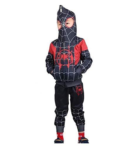Spiderman Hoodie Cosplay Kostuum Jongens Rits Pullover Trainingspak Broek Cadeaus voor Kinderen 130cm Zwart