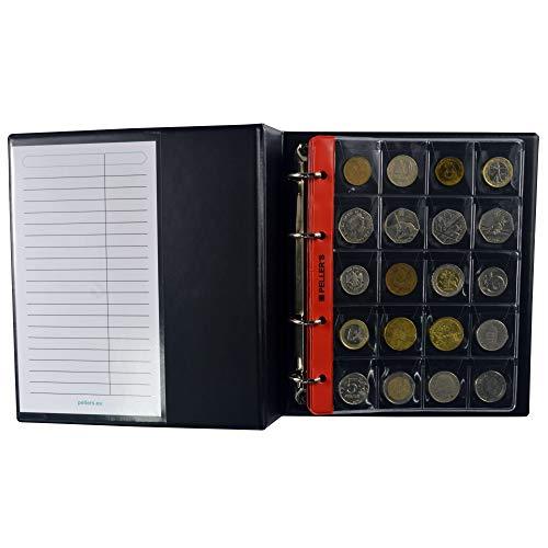 PELLER'S Album pour 206 Monnaies. Classeur M. 10 Feuilles, Mix Pochettes 27mm x 27mm, 35mm x 40mm, 46mm x 50mm. Idéal pour Les pièces de différentes diamètre. (Modèle M)