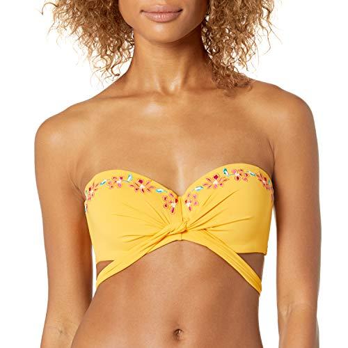 Coco Reef Women's Five Way Bikini top Swimsuit with Molded Cups, Costa Brava Border Marigold, 32D/34D