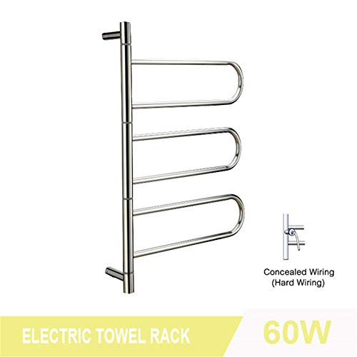 MIJOGO 6-bar handdoekwarmer, roestvrij staal, gepolijst, 180 graden draaibaar, elektrisch, handdoekradiator