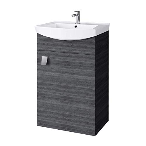 Planetmöbel Waschbecken mit Waschbeckenunterschrank/Waschtisch-Unterschrank 45cm Gäste Bad WC (Anthrazit)
