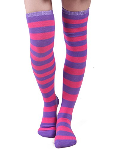 Women's Extra Long Striped Socks Over Knee High Opaque Stockings (Purple & Pink)