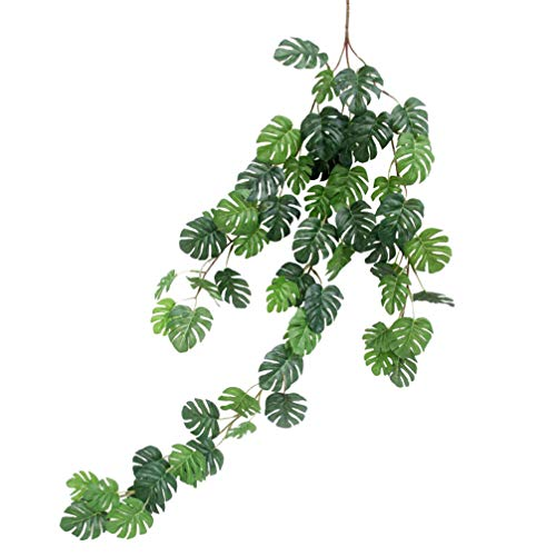 Wakauto Artificial Rattan Artificial Small Monstera Leaves Artificial Wall Hanging Vine Leaf Garland Plants Simulation Rattan Decoration Home Decor Accessories for Wedding Home (55 Leaves)