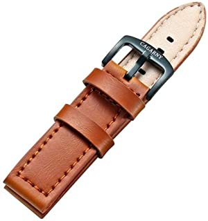 Lanbinxiang@ Simple and Stylish Green Watch with Buckle Leather Strap, Width: 22 mm Fashion (Color : Brown)