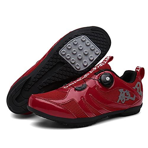 DSMGLSBB Zapatillas De Ciclismo, Antideslizante Sin Bloqueo Calzado De Ciclismo De Carretera, Fondo Plano De Goma Calzado Transpirable Spinning Al Aire Libre MTB Zapatos,Rojo,37
