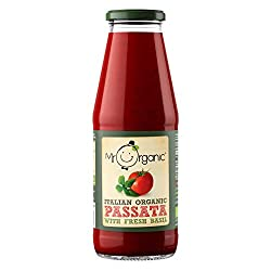 Simply organic crushed and sieved italian tomatoes Contains added basil Smooth and seedless this passata is ideal for all kinds of sauces or as a soup or pizza base With no added salt or sugar