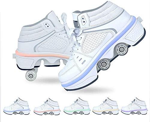 XRDSHY Rollschuhe Mädchen, Deformation Quad Rollschuhe Ausklappbare Rollschuhe Led Schuhe Mit Rollen Rollschuhe Beleuchtet Turnschuhe Mit Rollen, 7 Farben Einstellbar,37