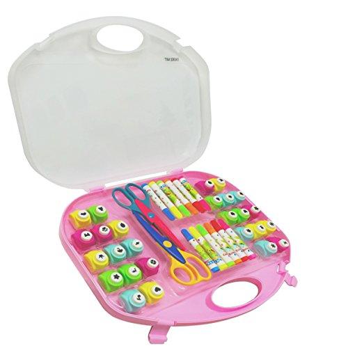 EXERZ Set de arte y manualidades/Perforadores/Tijeras para manualidades/Marcadores de colores – 40 piezas en un estuche de almacenamiento (Rosa)