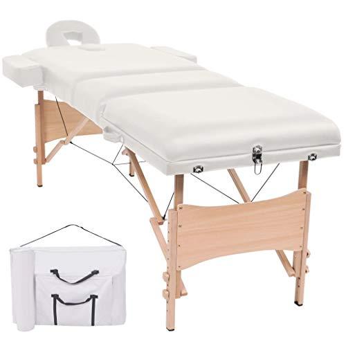 Festnight- Massageliegen Massagebett 3 Zonen Tragbar 10 cm Polsterung Weiß