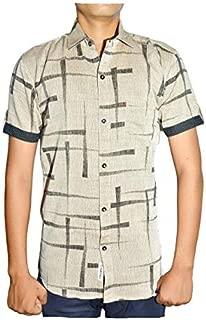J.P. MANUFACTURES Men's Cotton Half Sleeve Shirt Multi Printing Colours
