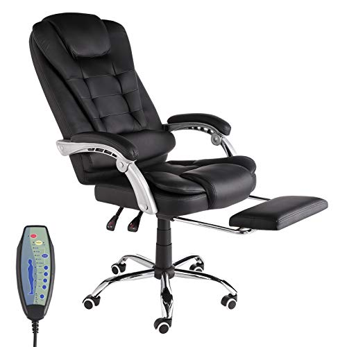 IPKIG Ergonomic Executive Office Chair with Retracable Footreat - High Back Home Office Chair 7-Point Massage Adjustable Height Task Chair with Padded Armrest and Lumbar Support (Black)