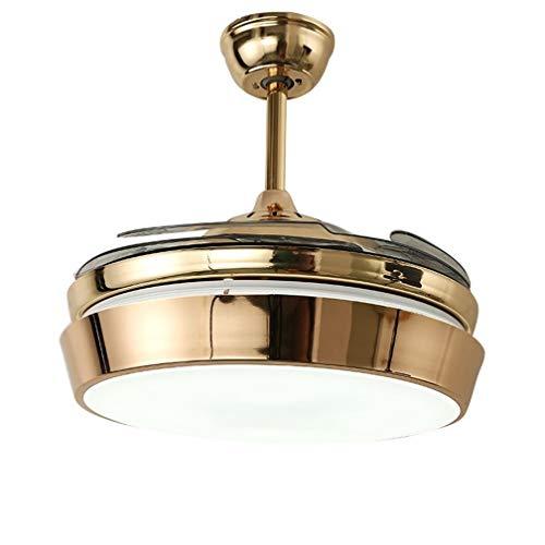 Ventilador De Techo Moderno De 42'con Luces Aspas Retráctiles Lámpara LED Remota De Oro Tres Velocidades Tres Cambios De Color Iluminación