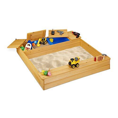 Relaxdays 10033854 Sandkasten mit Matschfach, Sandkiste Holz, Kunststoff, mit Sitzbank, 125 x 120 cm, Buddelkasten Kinder, natur