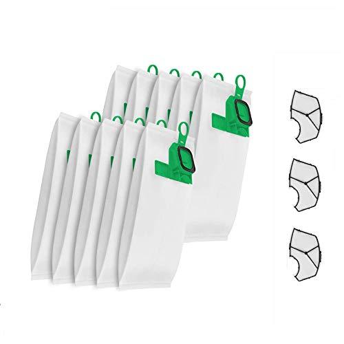 KOOLEAN 10 bolsas para aspiradora Vorwerk Kobold VK140/150 + 3 filtros de color verde.