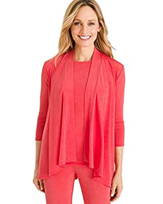 Chico's Women's Travelers Classic Draped Jacket Size 16/18 XL (3) Light Papaya Coral from CHICO'S
