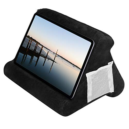 Multi-Angle Soft Pillow for iPads,Tablet Stand Pillow for iPad Universal ipad Tablet Reading Stand Pillow Holder for ipads, Tablets, Books, Smartphones (Black)