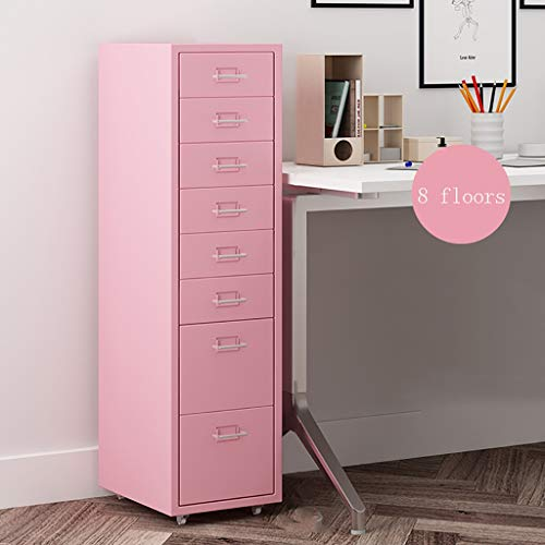 8 gesloten ladekasten, roze lades set systeembox vak voor gegevens 280 × 410 × 1080 mm 1.4mm thickness