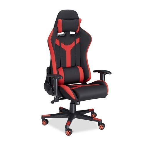 Relaxdays, bureaustoel voor gamer, PC Chair, 120 kg belastbaar, 180 ° kantelbaar, zwart-rood gamingstoel XR10, 58 x 68 x 136 cm 17,1 kg