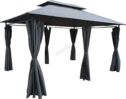 FoxHunter BIRCHTREE Premium 3m x 4m x 2.6m Grey Garden Pavilion Patio Gazebo Powder Coated Steel Pole 180G Waterproof Canopy Tent Awning Marquee G008C