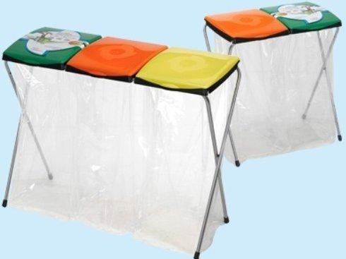 Digi Plast Poubelle Porte-Sacs 2 Places - L 68 x P 38 x H 83 cm, Multicolore