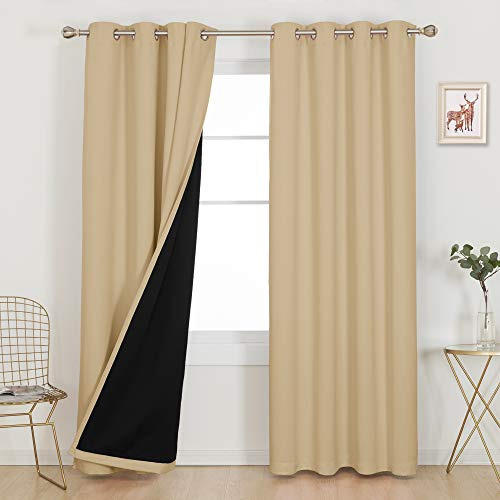 Deconovo Grommet 100% Blackout Curtains Long Window Drapes 108 Inches Decorative Total Blackout Curtains for Bedroom Kitchen Living Room Solid Color Pack of 2 Each 52x108 Inch Burlywood 2 Panels