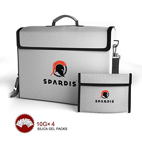 """Spardis XXL (16"""" x 12"""" x 3.5"""") Fireproof Document Safe Bag with Locking Zipper – Heat Resistant to 2100 F Degrees with Dual Layer Silicone Coated Fiberglass and Heat Blocking Aluminum"""