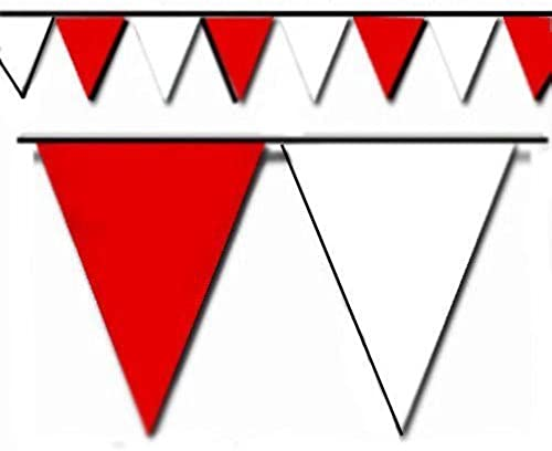 rot and Weiß Triangle Pennant Flag 100 Ft. by Hughes Manufacturing