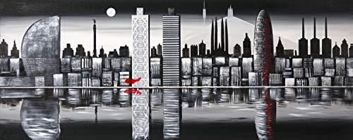 Cuadro Pintado Skyline Barcelona de Noche 150x60 cm 100% Original, sobre Lienzo, Listo para Colgar en la Pared