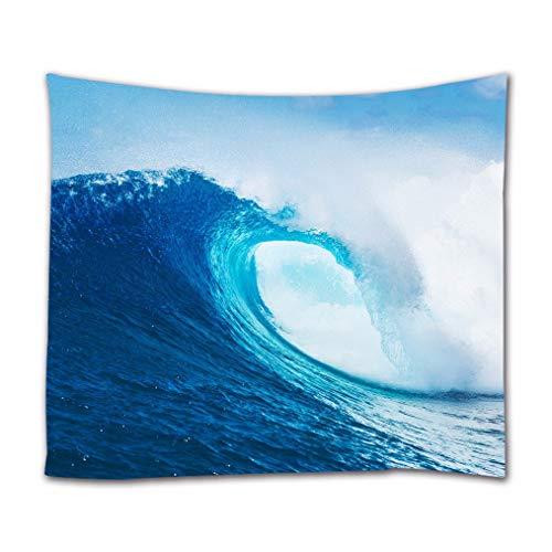 A.Monamour Tapices Cielo Azul Alta Ola Oceánica Surf Naturaleza Paisaje Imagen Impresión Tela Tapiz De Pared Tapices Decoraciones del Arte Cobertores De Cama Manta De Picnic 102x153cm