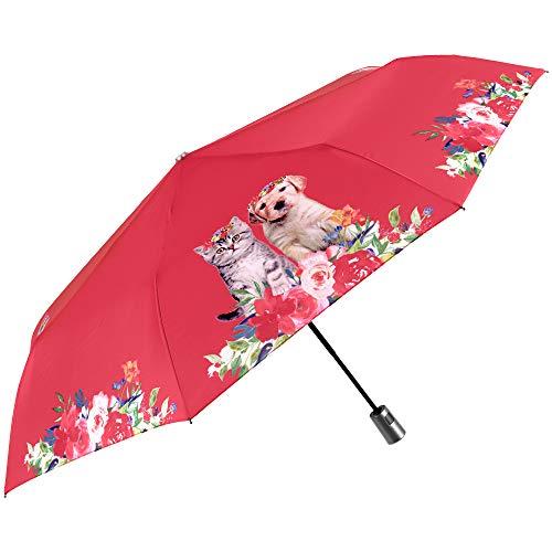 Paraguas Plegable Mujer Rojo Brillante Gato Perro Flores - Automatico Compacto Portatil Mini de Viaje - Resistente Antiviento Varillas de Fibra de Vidrio PFC Free - Diametro 96 cm Perletti (Rojo)