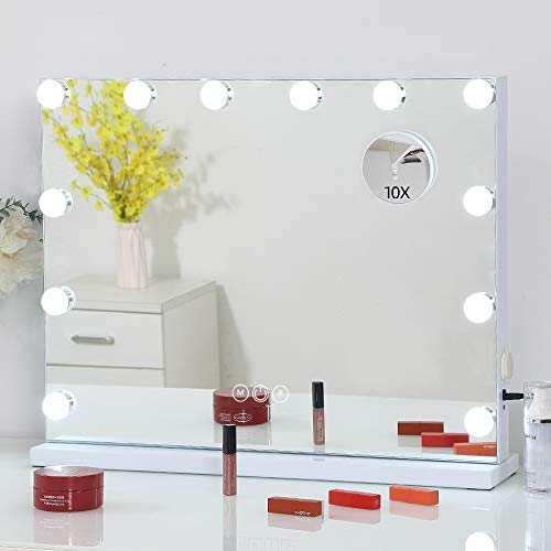 FENCHILIN Large Vanity Mirror with Lights and Charging Port, Hollywood Lighted Makeup Mirror with 15 Dimmable LED Bulbs for Dressing Room & Bedroom, Tabletop or Wall-Mounted, Slim Metal Frame