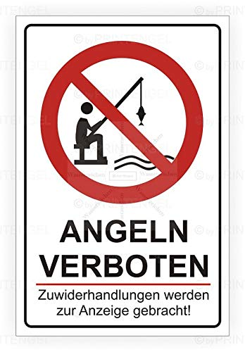 Sticker-Designs 15cm!2Stück!Aufkleber-Folie Wetterfest Made IN Germany Angeln verboten Anzeige Strafe S161 Jahre haltbar UV&Waschanlagenfest Vinyl-Sticker Profi Qualität