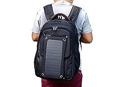 PACK Solar-Rucksack Im Freien Ladetasche Solar-Akku-Ladegerät Umhängetasche Reisetasche,A:Black