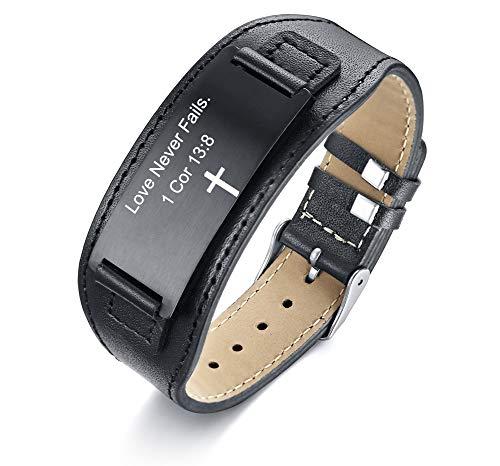 MPRAINBOW Christian Gifts for Men Boy,Inspirational Religious Bracelets-Cross Jesus God Scripture Bracelet,Bible Verse Personalized Mantra Quotes Engraved Jewelry Genuine Leather Bracelet,Ajustable 6.7'-8.7'