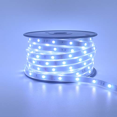200Ft (2x100Ft) Long Run Waterproof IP67 24V RGB LED Strip Rope Light Music Sound SYNC Controller for Home Theater Backlight Crown Molding Accent Outdoor Roof Decks Railings Colors Lighting Decoration 8