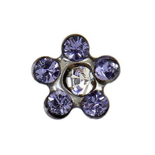 Studex Ohrstecker mit Kristallen in Tansanit-Optik und klarem Kristall, Edelstahl, Blumenform, 5mm Fassung