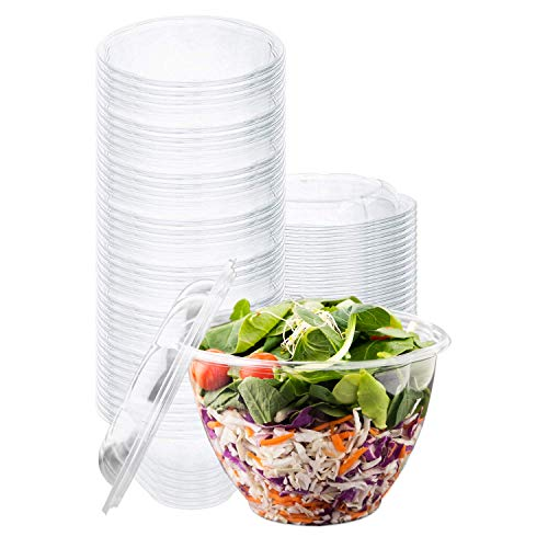 Disposable Salad Bowls with Lids (50 Count) 48 oz. Plastic Salad Bowls - Large Salad Bowl To-Go Container with Airtight Lids