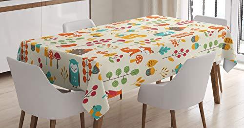 ABAKUHAUS Niños Mantele, Búho Fox Ardilla Aves, Fácil de Limpiar Colores Firmes y Durables Lavable Personalizado, 140 x 200 cm, Multicolor