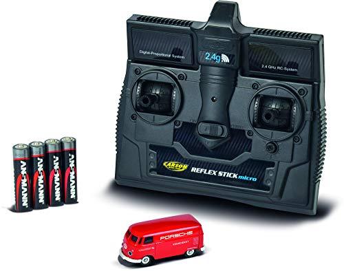 CARSON 500504124 - 1:87 VW T1 Bus Kastenwagen Porsche 2.4G RTR, Fahrfertiges Modell, 2.4 GHz Fernsteuerung mit Ladeanschluss, inkl. 4xAAA Senderbatterien, mit LED Beleuchtung, Anleitung