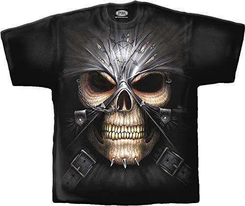 Spiraal T-shirt Skull - doodskop met masker en ketting aan de neus - cool design T-shirt met rondom print - Rockabilly Biker Heavy Metal Kleding