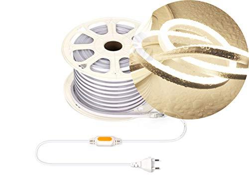 Ogeled 1-50m Neon LED Strip Warmweiß Neutralweiß Kaltweiß ohne Lichtpunkte Wasserfest Innen/Außen 230V Dimmbar (Neutralweiß, 4m)