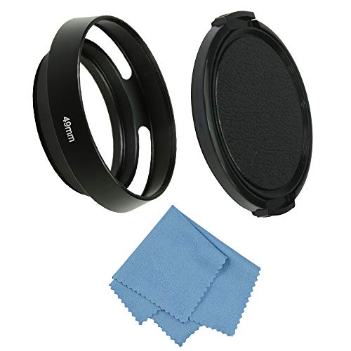 SIOTI Camera Standard Hollow Vented Metal Lens Hood with Cleaning Cloth and Lens Cap Compatible with Standard Thread Lens