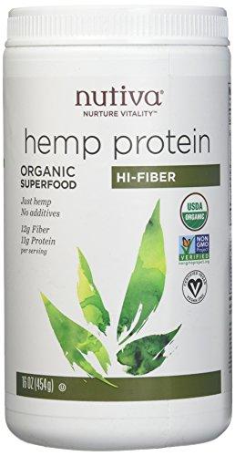 Pack of 1 x Nutiva Organic Hemp Protein Hi-Fiber - 16 oz