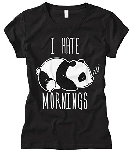 Cybertela Women's I Hate Mornings Panda Bear Fitted T-Shirt (Black, Large)