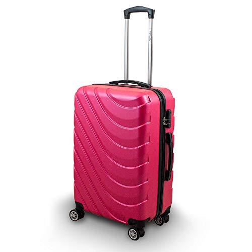 Trolley Hartschalen Koffer Hartschalenkoffer Hardcase Größe L - Modell Wave 2018 (Pink)