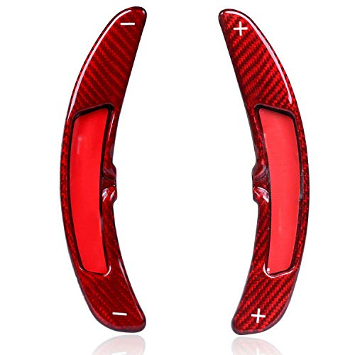 HEZHOUJI Schaltpaddel, Carbon Lenkrad Schaltpaddelschalthebel, für Porsche Macan 718 911 997 996 Panamera, rot