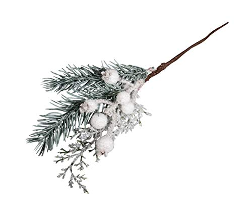 Rayher 55871000 Dekozweig geeist mit Beeren, aus Kunststoff, 31 cm, für weihnachtliche Dekorationen